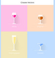 flat glassware icons vector image