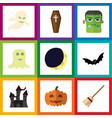 flat icon celebrate set of superstition spirit vector image vector image