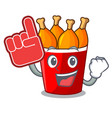 foam finger fried chicken bucket isolated on vector image