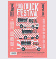 food truck festival poster flyer template vector image vector image