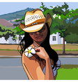 girl in a cowboy hat with a flower frangipani vector image vector image