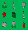 golf flat outline isometric set vector image vector image