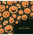 Halloween pumpkins corner decor pattern background vector image vector image