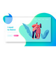 happy couple dance together landing page vector image