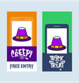 happy halloween invitation design with hat vector image vector image