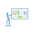 humanoid making presentation flat vector image vector image