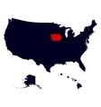 iowa state in united states map vector image