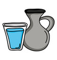 jar canteen pot with water glass vector image vector image