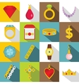 Jewelry items icons set flat style vector image vector image