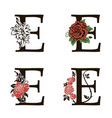 letters e with flowers bouquet vector image