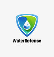 logo water defense gradient colorful style vector image