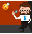Lucky businessman is presenting a target vector image vector image