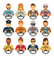 man and woman drivers flat icons vector image vector image