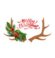 Merry christmas lettering horns bow holly
