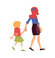 mom leads or escorts daughter to school vector image