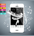 music icons with keyboard app on cellphone vector image vector image