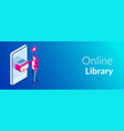 online library concept books in your phone or vector image vector image