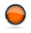 orange button with chrome frame round glass shiny vector image vector image