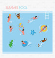 people swimming and playing in pool summer vector image vector image