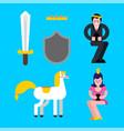prince and princess set shield and sword crown vector image vector image