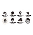set badge patch american football sport logo vector image