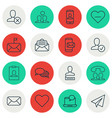 set of 16 communication icons includes unfollow vector image vector image