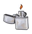 Silver metal windproof lighter with flame sketch vector image vector image