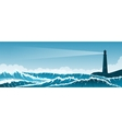 Stormy seascape background with lighthouse vector image vector image