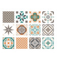 tile ornament colorful patchwork set ceramic vector image vector image