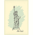 vintage postcard with a sketch statue of vector image vector image