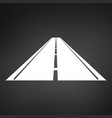 white logo of a minimalistic road with a roadside vector image vector image