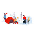 winter season camping and relaxing outdoors vector image vector image
