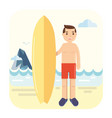 young surfer pose next to his surfboard vector image vector image