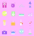 Colorful party icons on pink background vector image