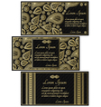Set of black invitation cards with golden paisley vector image