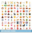 100 holiday icons set cartoon style vector image vector image