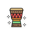 african djembe drum flat color line icon isolated vector image