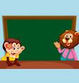 animal on chalkboard template vector image vector image