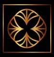 art deco adornment frame golden floral motif vector image