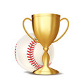 baseball award baseball ball golden cup vector image vector image