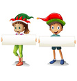 Boy and girl holding blank signs vector image