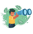 boy is looking through binocular vector image vector image