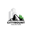 building with mountain symbol logo design vector image vector image