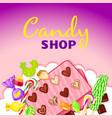 caramel candy shop concept background cartoon vector image vector image