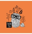 Card print with autumn owl vector image vector image