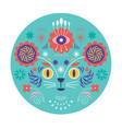 cat head and flowers vector image vector image