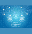 christmas background with hanging baubles on vector image vector image