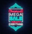 christmas sale template design in neon style neon vector image vector image