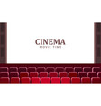 cinema hall with wide screen and red rows vector image vector image
