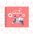 couple sitting wooden bench back to back using vector image vector image